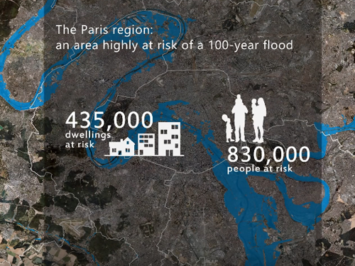 Simulation of a 100-year flood upstream of Paris in the Val-de-Marne county