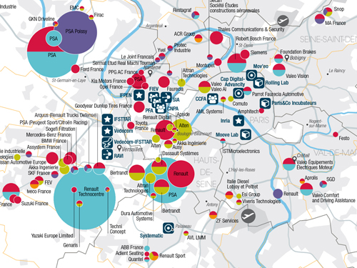 Automotive industry locations in the Paris Region