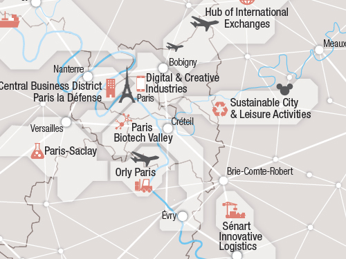 Spatial organisation and project's areas in the Paris region